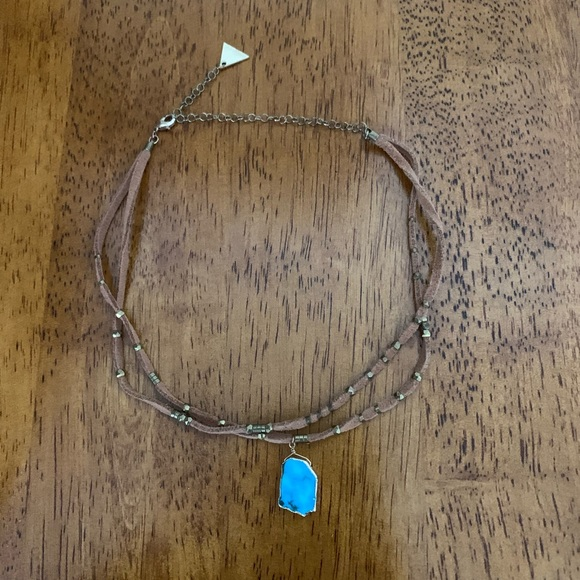 Anthropologie Jewelry - Anthropologie Leather & Turquoise Choker